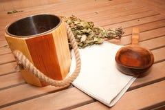 Accessori finlandesi di sauna Fotografie Stock Libere da Diritti