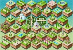 Accessori isometrici per l'insieme verde del parco della città illustrazione di stock