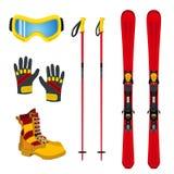 Accessori per gli sport estremi - sci, guanti, stivali di inverno piano Fotografia Stock