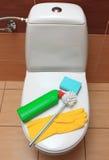 Accessori per la ciotola di toilette di pulizia Immagini Stock