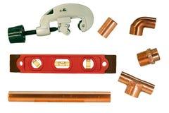 Accessori per tubi e taglierina di rame Fotografia Stock Libera da Diritti