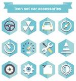 Accessori stabiliti dell'automobile dell'icona Immagini Stock Libere da Diritti