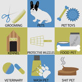 Accessori stabiliti dell'icona per gli animali domestici Veterinario governante Immagini Stock