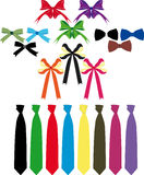 Accessories. Lot of bows, butterflies, and ties on a white background Stock Photos
