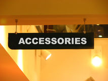 Accessories. A accessories board in a shopping mall Royalty Free Stock Photos
