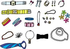 Accessories. Colorful accessories on white background. vector image Stock Photo