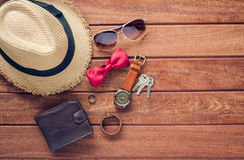 Accessories and apparel for men on a wooden floor - life styleใ. Accessories and apparel for men on a wooden floor - life style Stock Photo