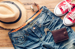 Accessories and apparel for men on a wooden floor - life style. Accessories and apparel for men on a wooden floor - life style Stock Image