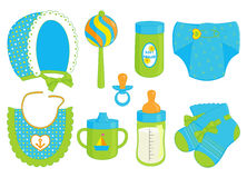Accessories for baby boy stock illustration
