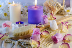 Accessories for bath and spa. Bath and spa accessories with aromatic candles Royalty Free Stock Images