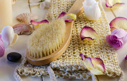 Accessories for bath and spa. Bath and spa accessories with aromatic candles Royalty Free Stock Photo