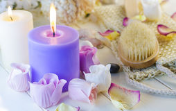 Accessories for bath and spa. Bath and spa accessories with aromatic candles Stock Images