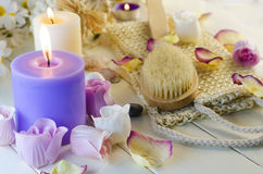 Accessories for bath and spa. Bath and spa accessories with aromatic candles Stock Photo