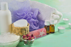 Accessories for bath on the wooden background Royalty Free Stock Image