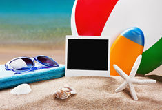 Accessories for the beach and play. In the sand stock photo