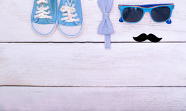 Accessories, blue clothes for a little boy. Flat lay Stock Photo