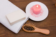 Accessories for body care on wood from above Stock Photos