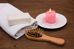 Accessories for body care. On wooden table Stock Photos