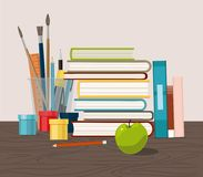Accessories, books and fresh apple against chalkboard. Back to School. royalty free illustration