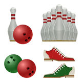 Accessories for bowling play, balls, pins or skittles, shoes. Accessories for bowling play, white skittles with red stripe, sneakers shoes and ball sporting Stock Image