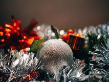 Accessories and Christmas decoration with unfocused background to write text. royalty free stock images
