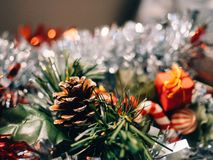 Accessories and Christmas decoration with unfocused background to write text. stock photo