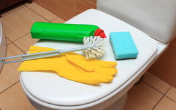 Accessories for cleaning toilet bowl Royalty Free Stock Image