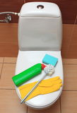 Accessories for cleaning toilet bowl Stock Images