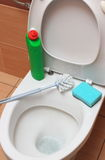 Accessories for cleaning on toilet bowl Royalty Free Stock Image