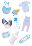Accessories and clothes for the child icons. The image of accessories and clothes for the child Stock Image