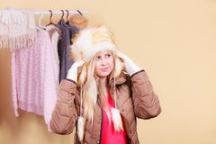 Blonde woman in winter warm furry hat Royalty Free Stock Photo