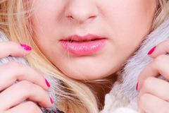 Blonde woman in winter warm furry hat Royalty Free Stock Image