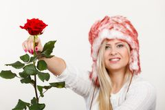 Woman in winter furry hat holding red rose Royalty Free Stock Images