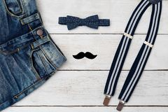 Accessories and clothes for a little gentleman. Kids fashion. Flat lay Royalty Free Stock Photo