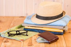 Accessories and clothing for men for long distance travel. Close-up objects royalty free stock photos