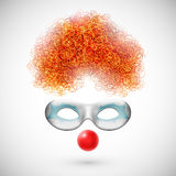 Accessories clown. (wig, mask and red nose). Eps 10 Stock Photos
