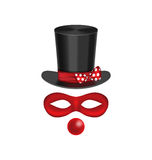 Accessories for clown - hat, mask, red nose are isolated on whit Royalty Free Stock Photo