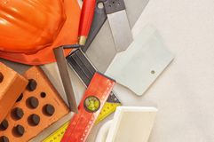 Tools for the construction and lining of brick walls royalty free stock photography
