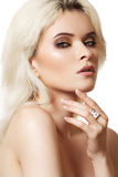 Accessories, cosmetics & make-up. Beautiful model Stock Photography