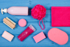 Accessories and cosmetics for personal hygiene in bathroom, concept of body care Stock Images