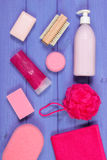 Accessories and cosmetics for personal hygiene in bathroom, concept of body care Stock Photography