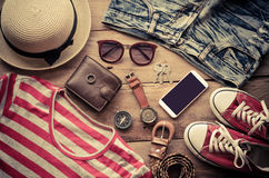 Accessories and costume Tourism casual lifestyl Royalty Free Stock Photography