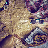 Accessories cowboy retro style on wooden background Stock Photography