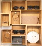 Accessories display cabinet in modern house or shopping mall stock photography