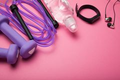 Accessories for doing fitness for weight loss, empty space for text. Pink, woman stock image