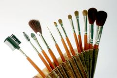 Accessories for eyelashes face makeover, makeup brushes set Royalty Free Stock Photos