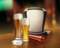 Accessories of fan with beer. Vector illustration of glass of beer and hat of soccer fan with trumpet in bar Stock Photo