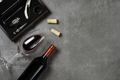 Free Accessories For Oenology. Cup With Wine On Concrete Background. Copy Space Stock Photos - 148862233