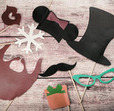 Accessories for a fun holiday of paper fashion, lips, mustaches Royalty Free Stock Photo