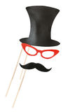 Accessories for a fun holiday of paper, lips, mustaches, hats Stock Photography